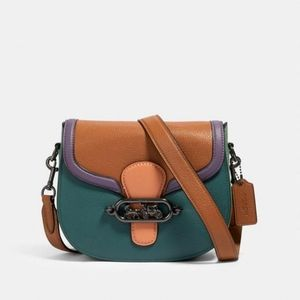 Coach Jade Saddle Bag In Colorblock New With Tags